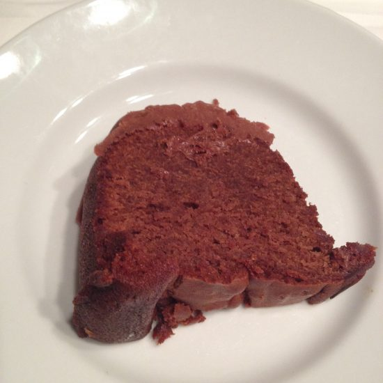 Slice of Hershey Bar Cake and a glass of milk make a great dessert.