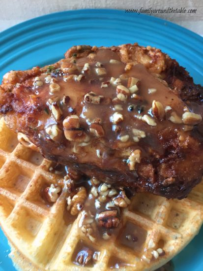Chicken and Waffles bring together breakfast and dinner.