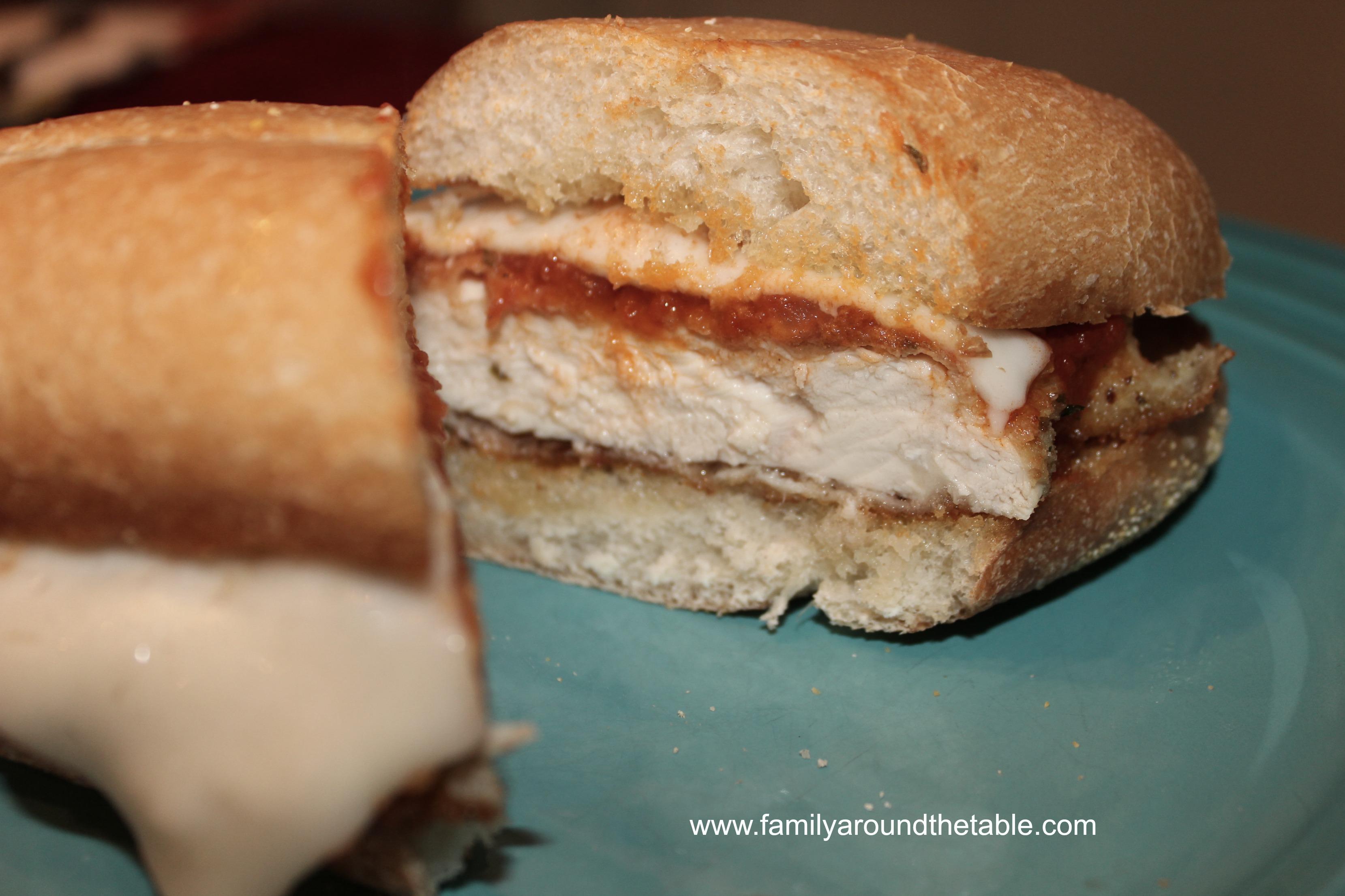 Chicken Parmesan Sandwich cut in half.