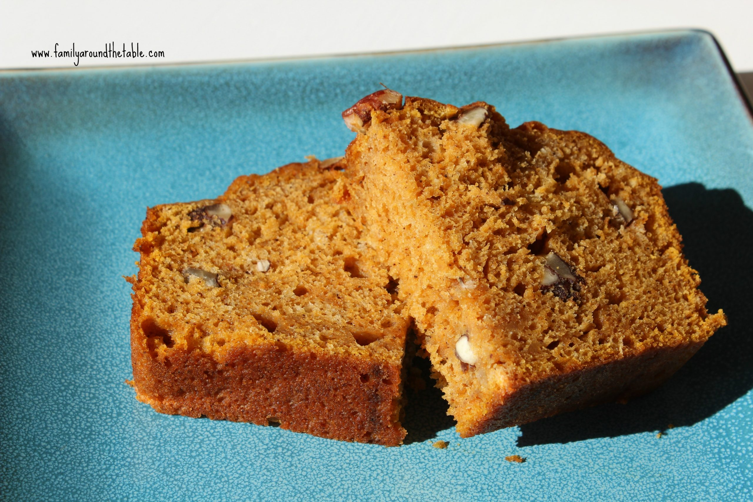 Gigi's Spiced Pumpkin Pecan Bread is delicious warm from the oven with a smear of butter!