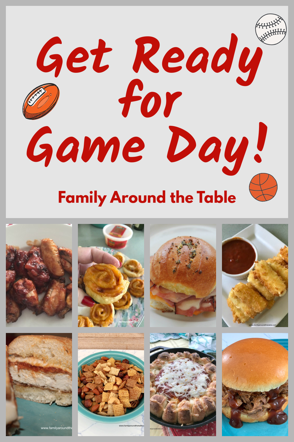 Game day recipes Pinterest image.