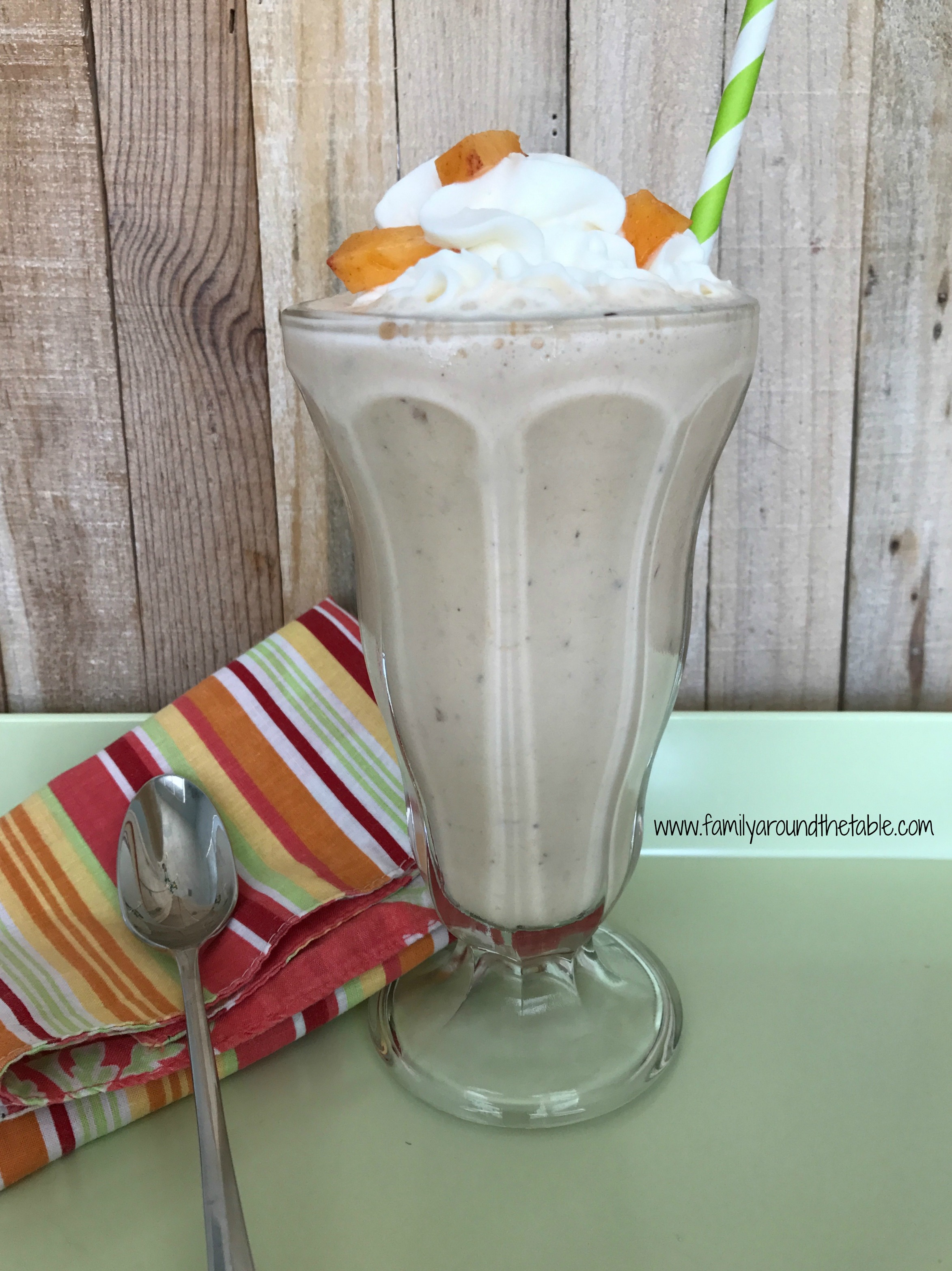 Full of peach and vanilla flavor, this peach milkshake is a treat.