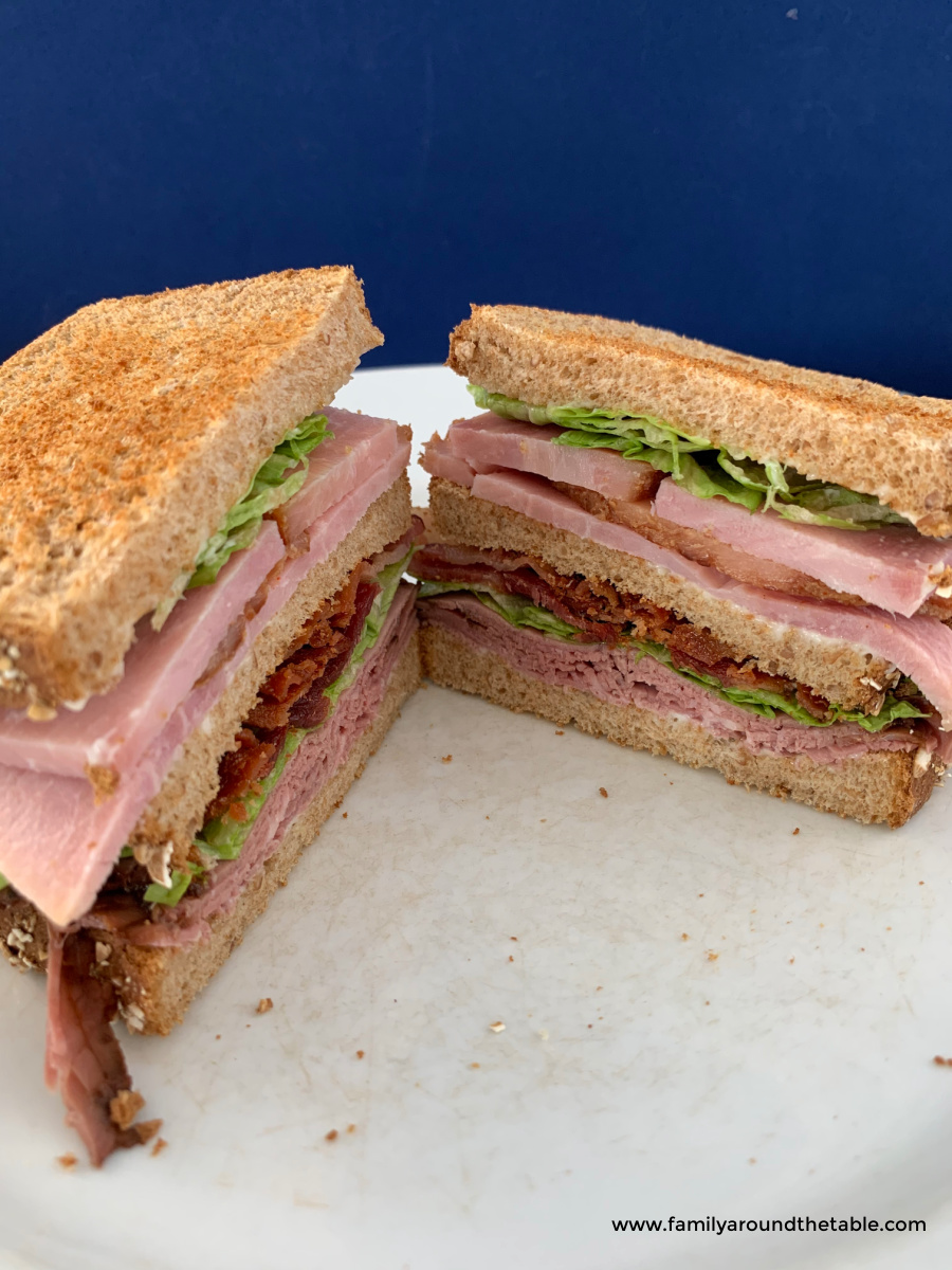 A club sandwich cut in half.