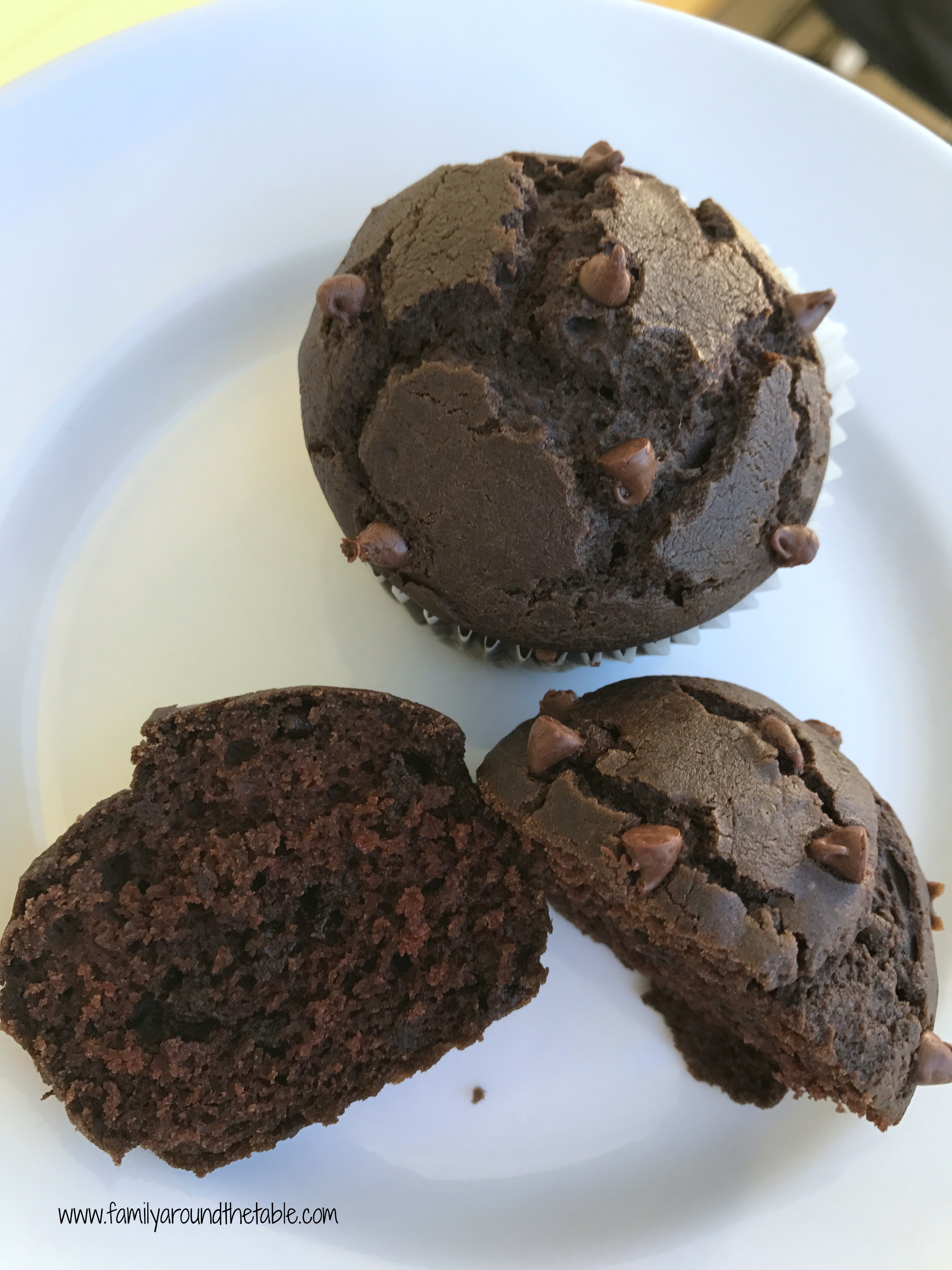 Chocolate chip chocolate muffins are full of flavor.
