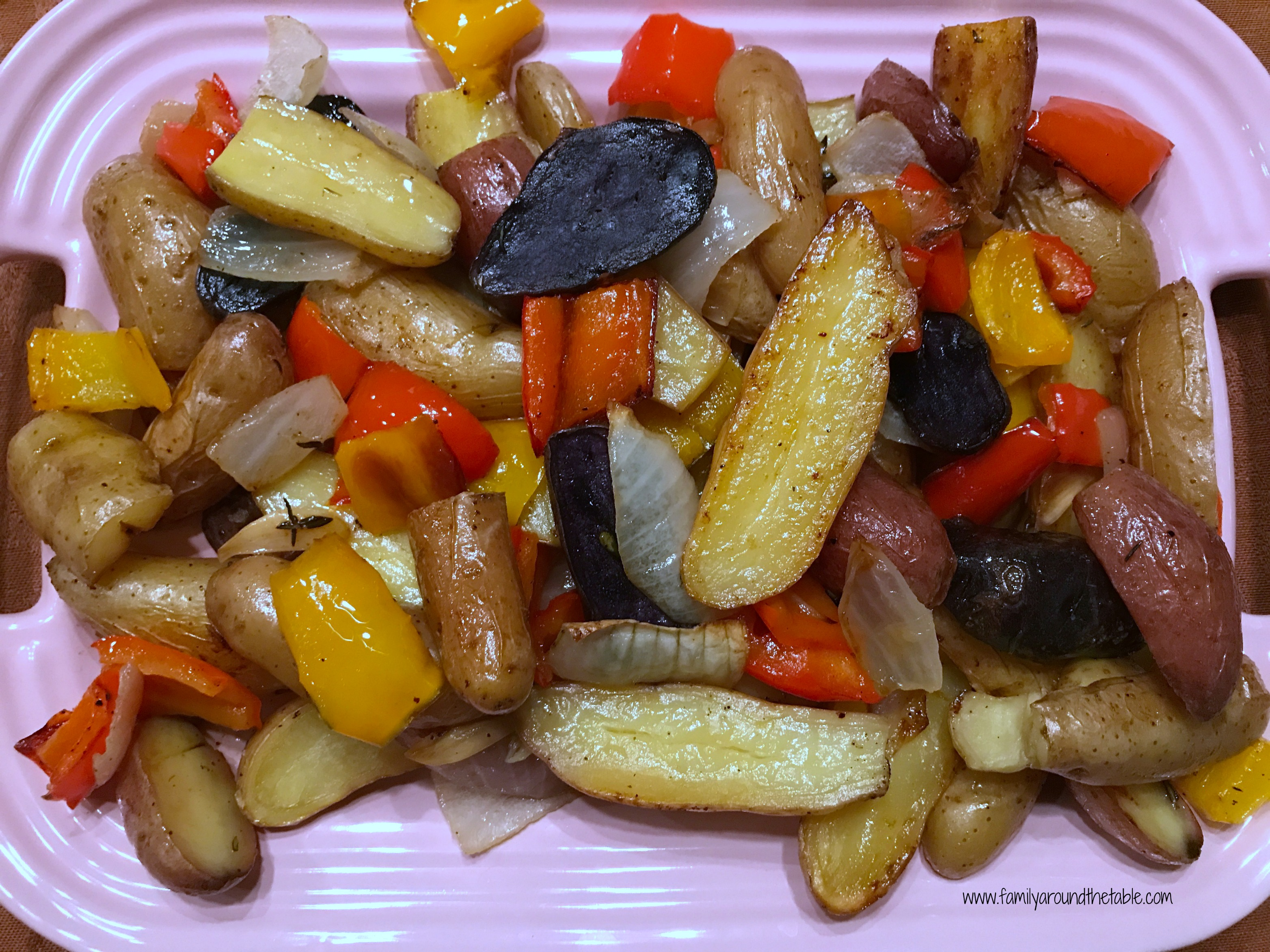 Fingerling potatoes roast up nicely and are delicious when included a medley with peppers and onions.