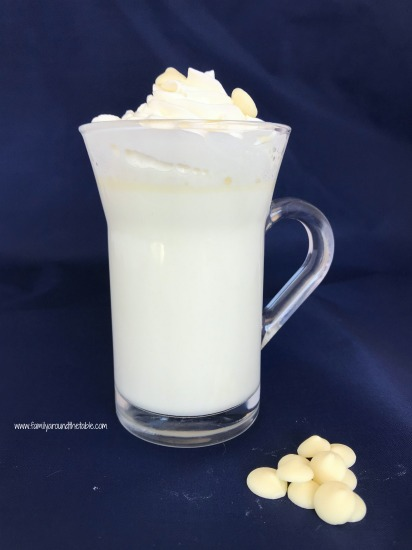 Winter white hot chocolate is a nice change from traditional hot chocolate.