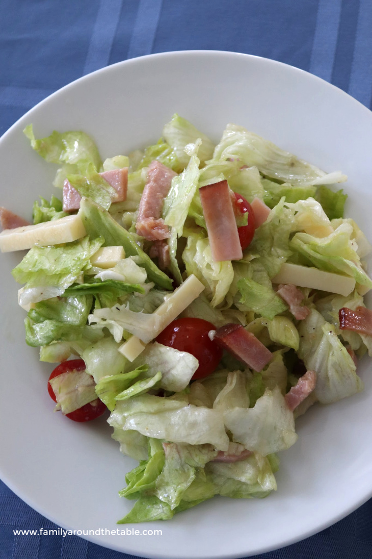 Columbia 1905 salad on a white plate