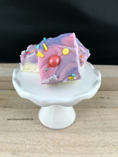 Easter fudge could also double as unicorn fudge. The creamy layers melt in your mouth.