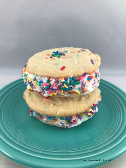 Funfetti ice cream sandwiches start with a delicious funfetti sugar cookie.