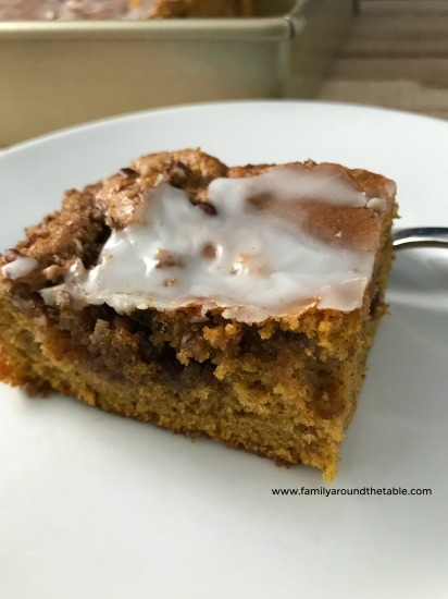 Serve pumpkin honey bun cake for breakfast or dessert.