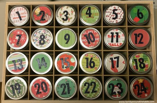 Finished mason jar Advent calendar.