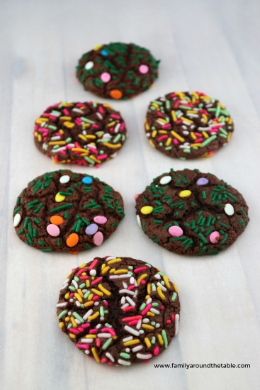 Springtime and Easter chocolate sprinkle cookies.
