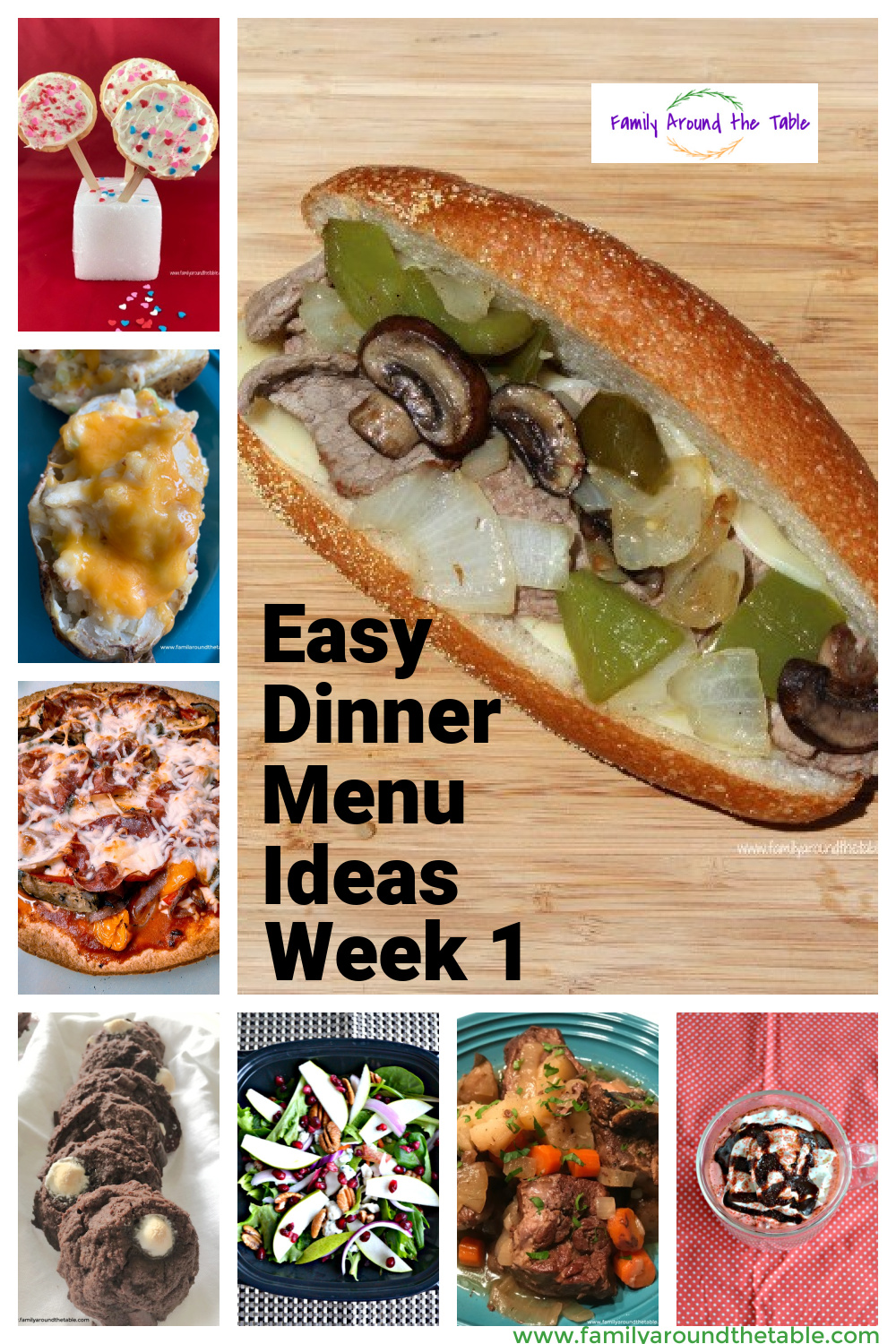 Easy Dinner Menu Ideas collage of photos.