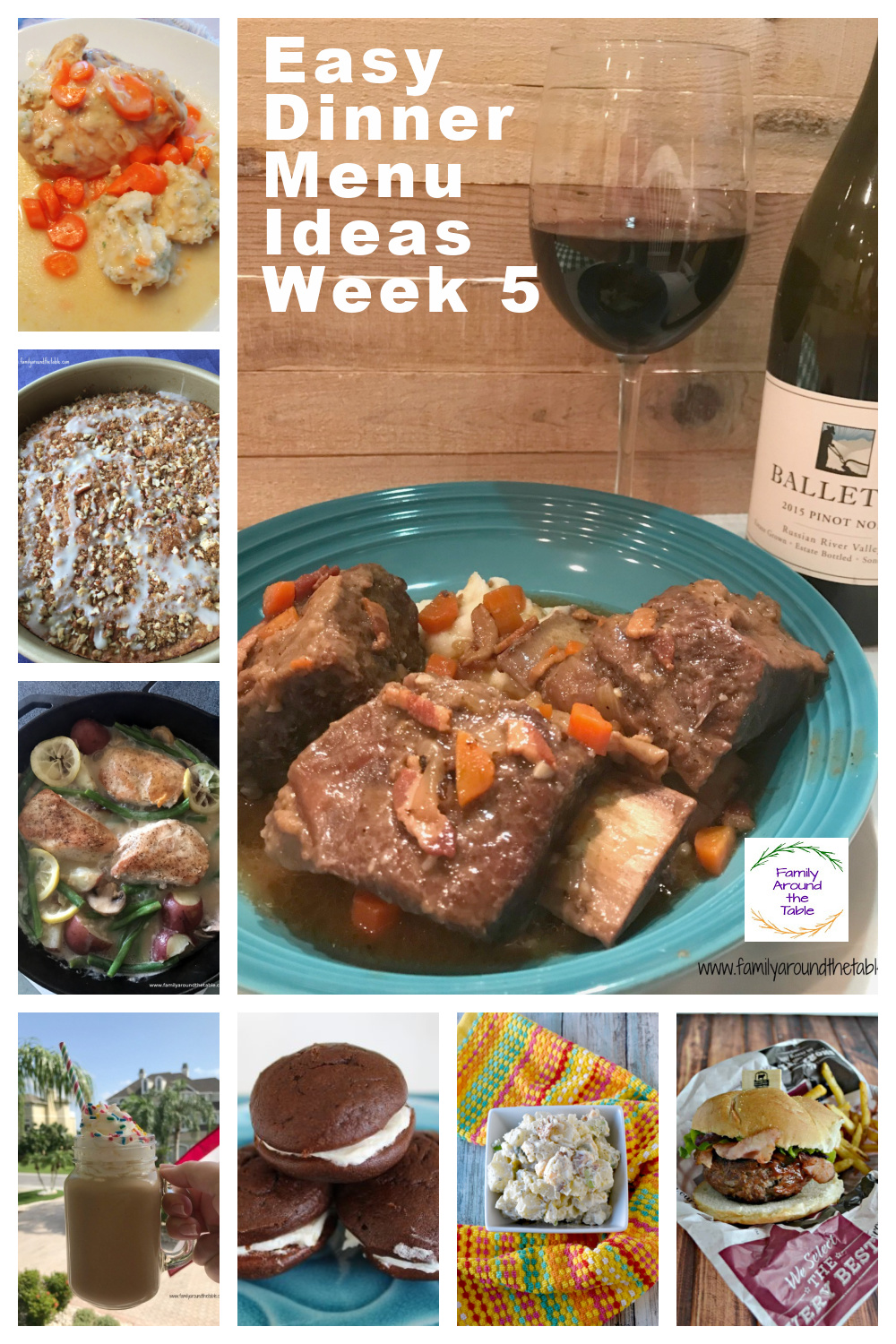 Collage of recipes in the week 5 menu plan.
