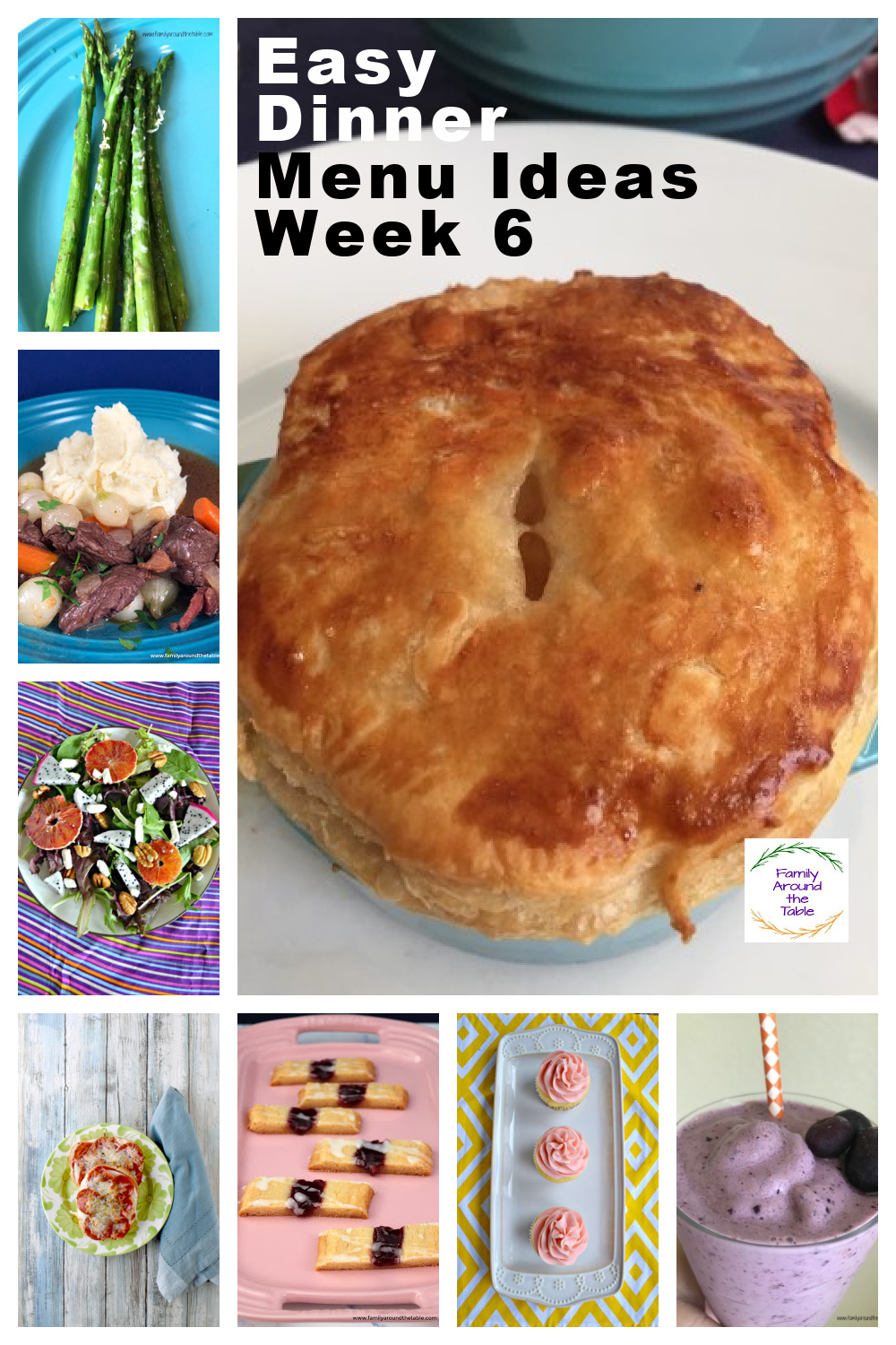 Collage of recipes in the week 6 menu plan.