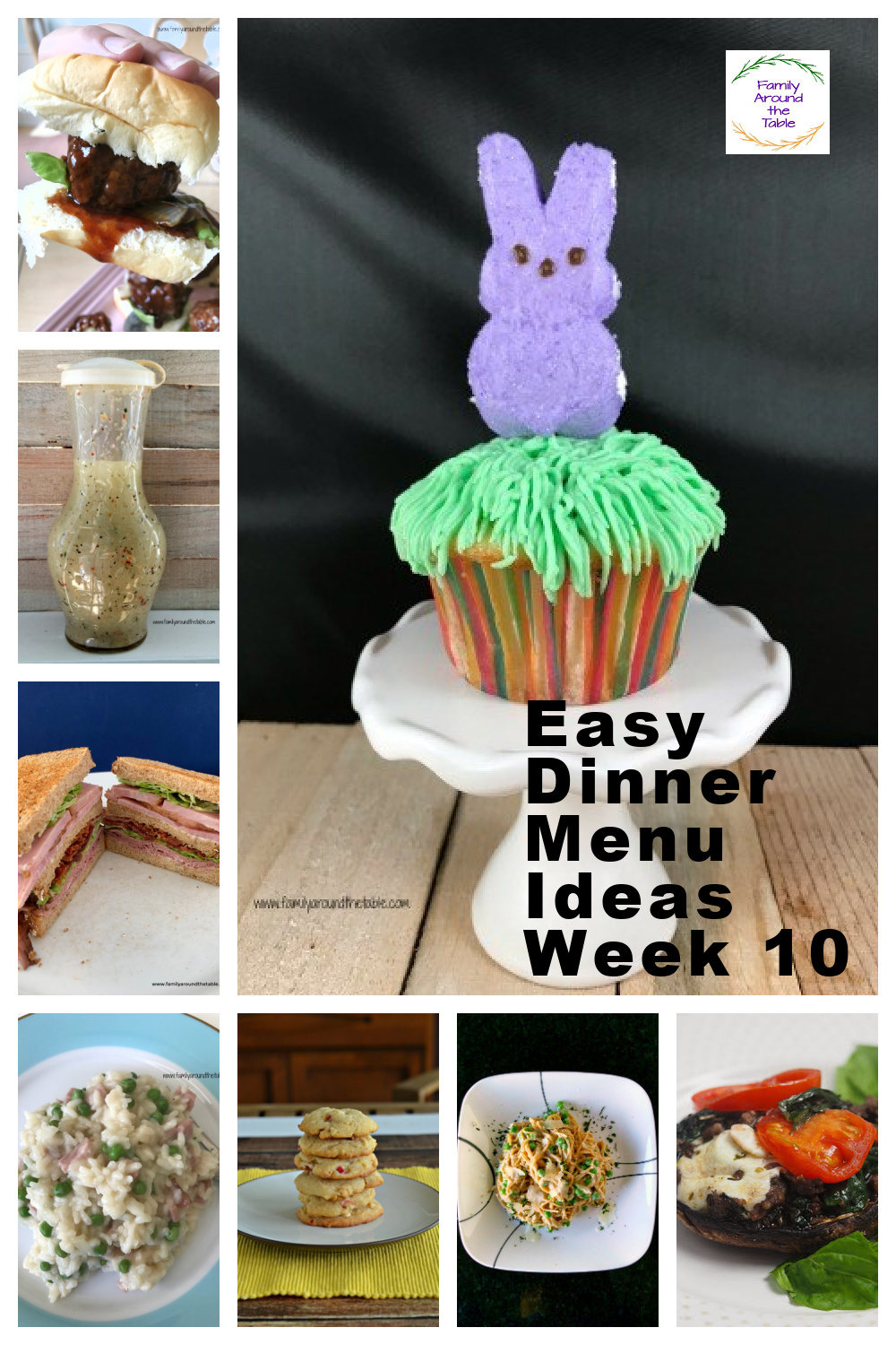 Easy Dinner Menu Ideas Week 10 collage of photos.