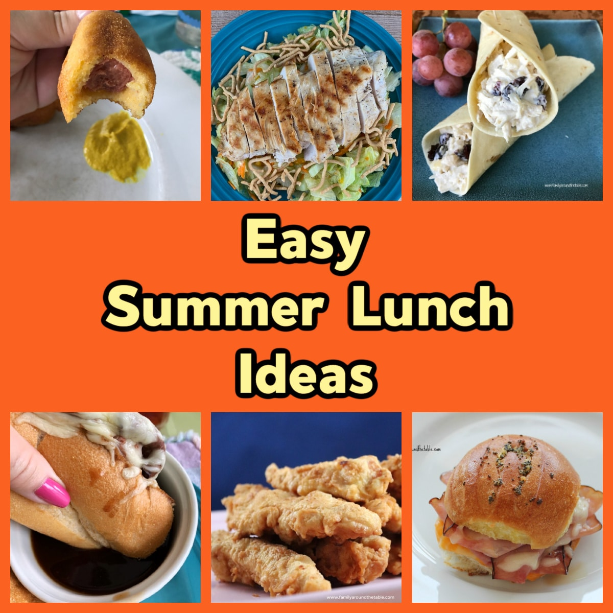 A collage of sandwiches, salads and finger foods for summer lunch ideas.