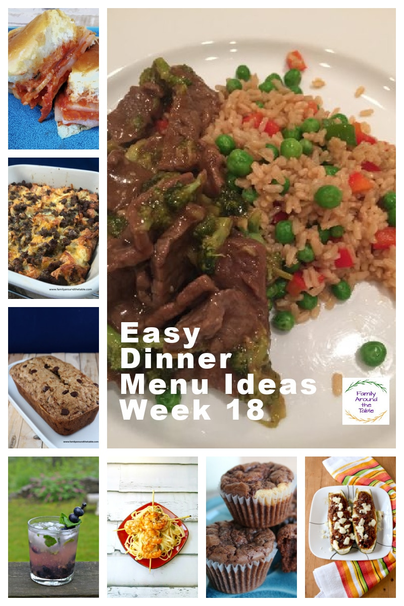 Easy Dinner Menu Ideas week 18 Collage of photos for Pinterest.