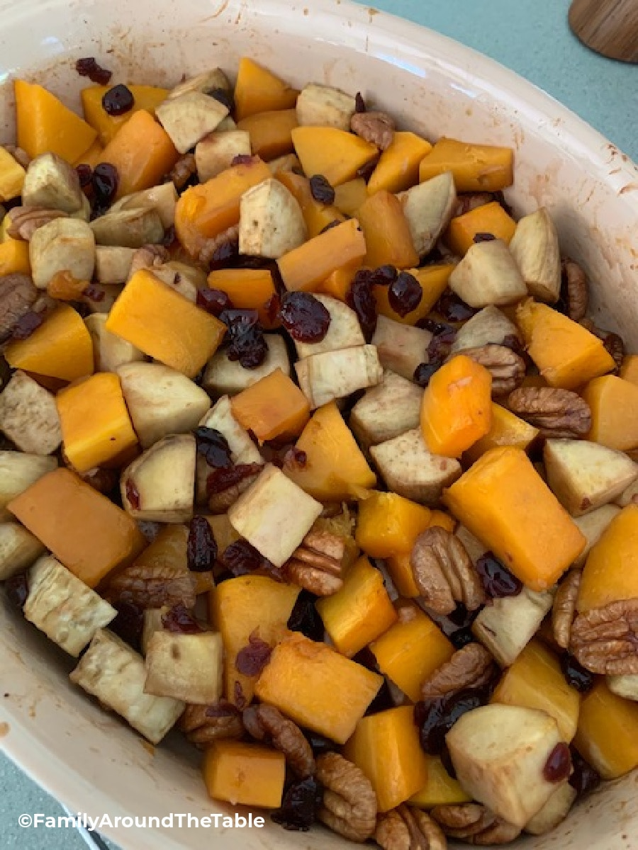 Overhead photo of fall vegetables in a baking dish.